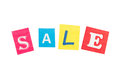 Multicolor inscription sale made with cut out letters isolated on white background Stock Photo