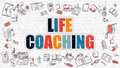 Multicolor Life Coaching on White Brickwall. Doodle Style.