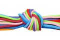 Multicolor linen rope with knot isolated on white Stock Photo