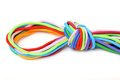 Multicolor linen rope with knot isolated on white Stock Image