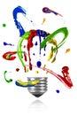 Paint orbit around painted light bulb Royalty Free Stock Photo