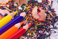 Multicolor pencils and shavings Stock Photography