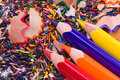 Multicolor pencils and shavings Royalty Free Stock Photo