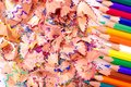 Multicolor pencils and wood shavings Royalty Free Stock Photos