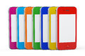 Multicolor plastic cases mobile phones on a white background Stock Photography