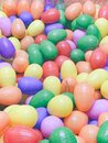 Multicolor plastic easter eggs with shell open use for egg hunting, lucky draw boot. Royalty Free Stock Photo