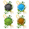 Multicolor sealing wax with decorative plant Stock Photo