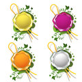 Multicolor sealing wax with decorative plant Stock Images