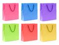 A multicolor set of shopping bag Stock Photos