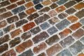 Multicolor stone paving in snow Royalty Free Stock Photo