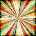 Multicolor sunbeams grunge background retro poster Stock Images