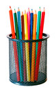 Multicolor wooden pencils colorful in a mesh holder on a white background Royalty Free Stock Image
