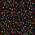 Multicolored abstract shining falling stars seamless texture black background. Festive, luxury or network graphic design concept. Royalty Free Stock Photo