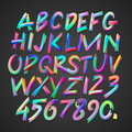 Multicolored art alphabet and numbers