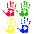 Multicolored art from hand prints Royalty Free Stock Photography