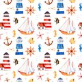 Multicolored background with cute sailor bear,anchor,lighthouses,coral fishes