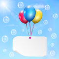 Multicolored balloons with paper card on sky background sun clouds and soap bubbles Royalty Free Stock Photos