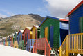 Multicolored beach cabins in Africa Stock Image