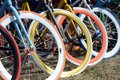 Multicolored bicycle wheels closeup Royalty Free Stock Photo