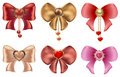 Multicolored bows with hearts and pearl jewelry. Red and gold hearts with vintage ornaments and bows Royalty Free Stock Photo