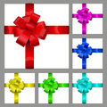 Multicolored bows of ribbon set made shiny ribbons decorations for a gifts Royalty Free Stock Image