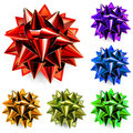 Multicolored bows of ribbon set realistic made shiny ribbons Stock Photography