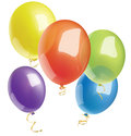 Multicolored bright balloons on white background Royalty Free Stock Photo