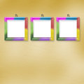 Multicolored bright frames hanging Stock Images