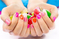 Multicolored and bright manicure Stock Photography