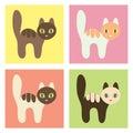 Multicolored cats set.