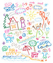 Multicolored child drawing style set Royalty Free Stock Photo
