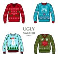 Multicolored christmas party sweaters,