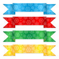 Multicolored christmas ribbons set of colorful banners with a pattern from snowflakes Royalty Free Stock Image