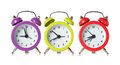 Multicolored clock alarm on white background Royalty Free Stock Photos