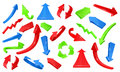 Multicolored 3d glossy arrows. Pointing signs vector set