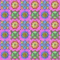 Multicolored details on a pink background. Hand-drawn seamless pattern