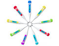 Multicolored digital clinical thermometers on a white background Royalty Free Stock Images