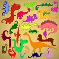 Multicolored dinosaurs painting illustration of Royalty Free Stock Image