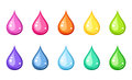 Multicolored drops set of ten of water of various colors isolated on a white background Royalty Free Stock Photography