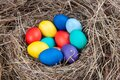 Multicolored eggs in a nest in the hay. Concept easter