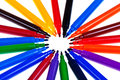Multicolored felt tip pens circle of Royalty Free Stock Image