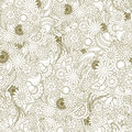 Multicolored floral seamless texture, waves. Elegance olive back Royalty Free Stock Photo