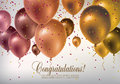 Multicolored flying balloons end confetti background with Stock Photo