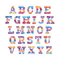 Multicolored Font, set of colorful letters. Vector alphabet Royalty Free Stock Photo
