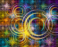 Multicolored fractal with swirls over black background Royalty Free Stock Photo