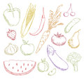Multicolored fruits and vegetables set Royalty Free Stock Photography