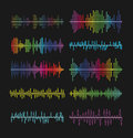 Multicolored graphic equalizer waves, soundtrack waveforms vector illustration. Music volume wave amplifier symbols