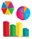 Multicolored graphs rounded polygonal rod circle the block Stock Photography