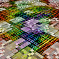 Multicolored grid and cube shape pattern as abstract background. Royalty Free Stock Photo
