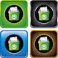 Multicolored halftone web buttons with recycle bin
